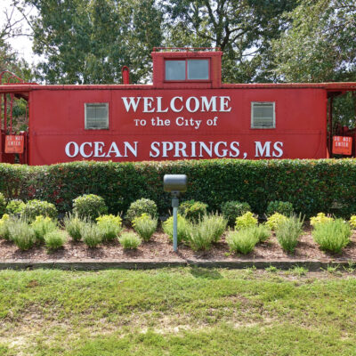 A sign for Ocean Springs, Mississippi.