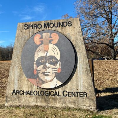 A sign for Spiro Mounds Archaeological Center.
