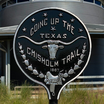 A sign for the Chisholm Trail in Hillsboro, Texas.