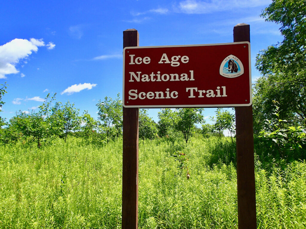 A sign for the Ice Age National Scenic Trail.