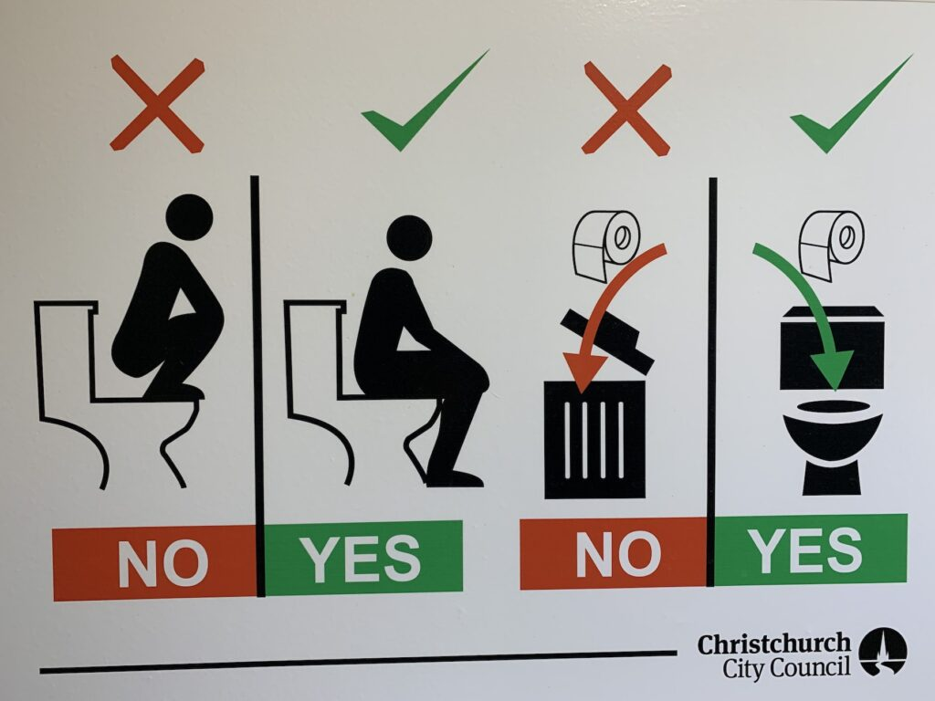 A sign in a public restroom in New Zealand.
