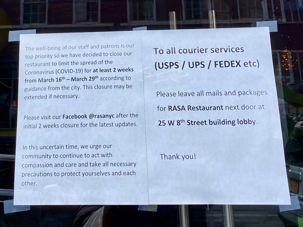 A sign on a closed restaurant in New York City.