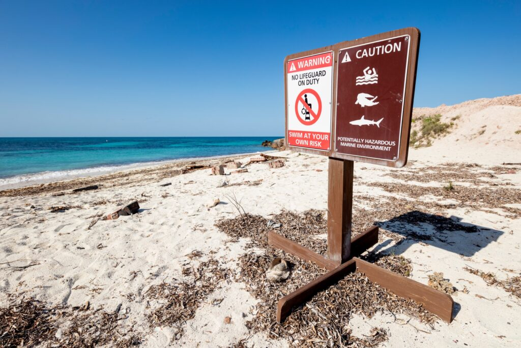 A sign warning swimmers about sharks.