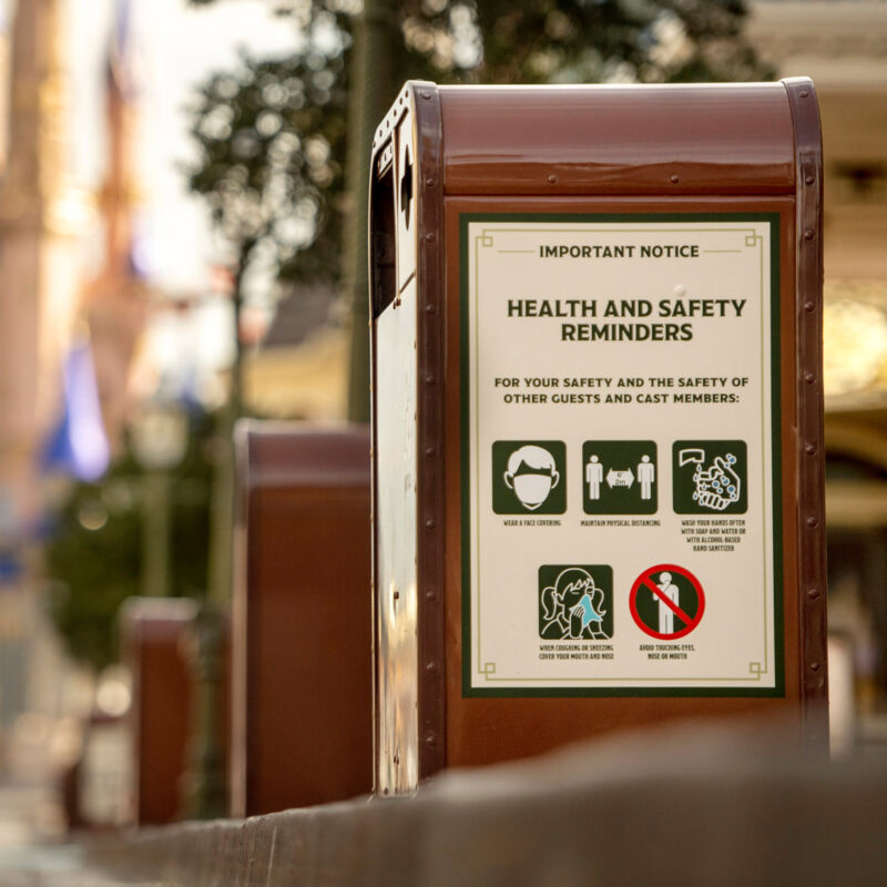 A sign with safety guidelines at Walt Disney World.