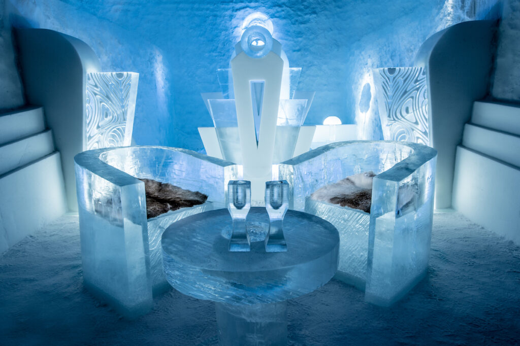 A sitting area in the Icehotel in Sweden.