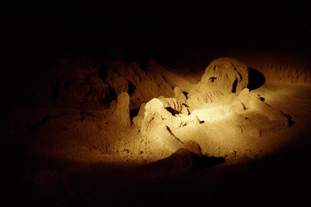 A skeleton in Actun Tunichil Muknal cave.