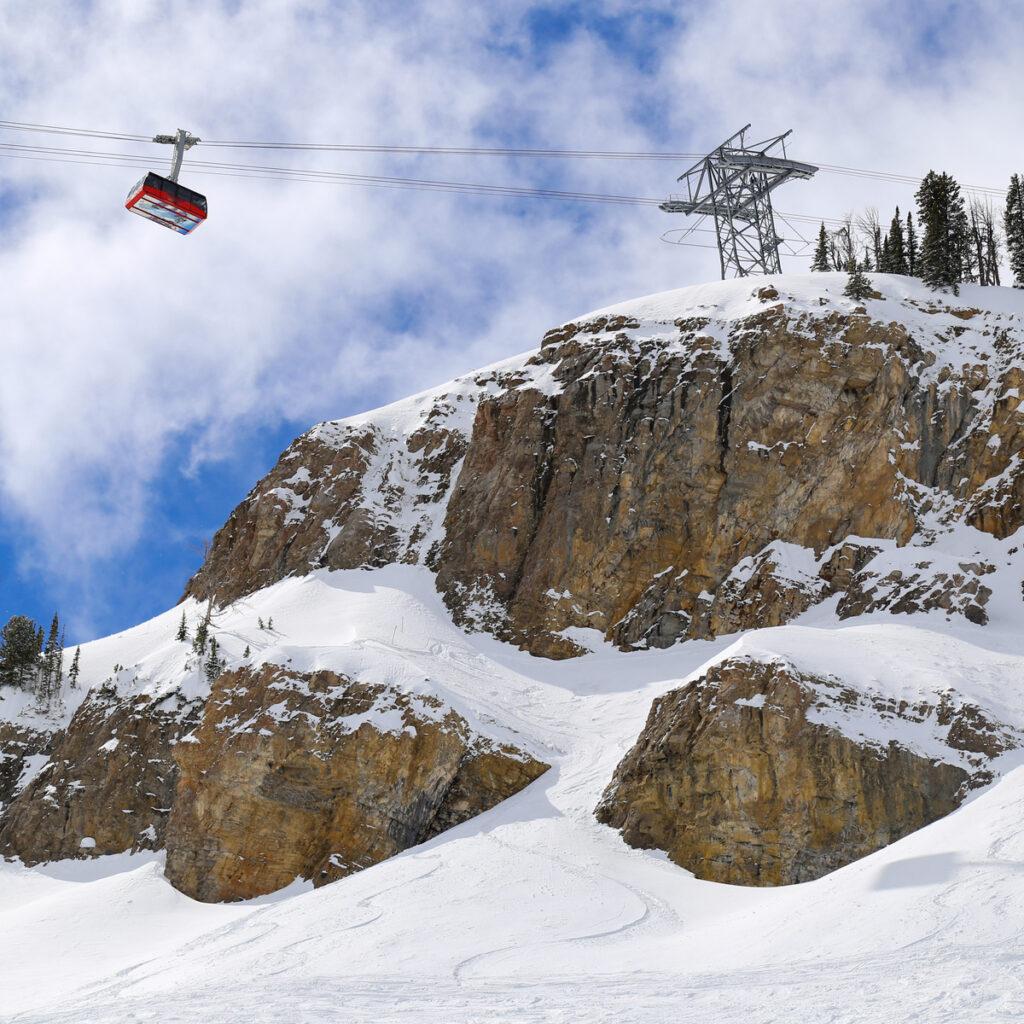 A ski lift at Jackson Hole Resort in Wyoming.