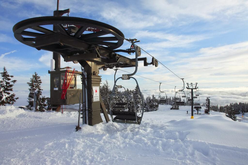 A ski lift at the Mt. Hood Ski Bowl in Oregon.