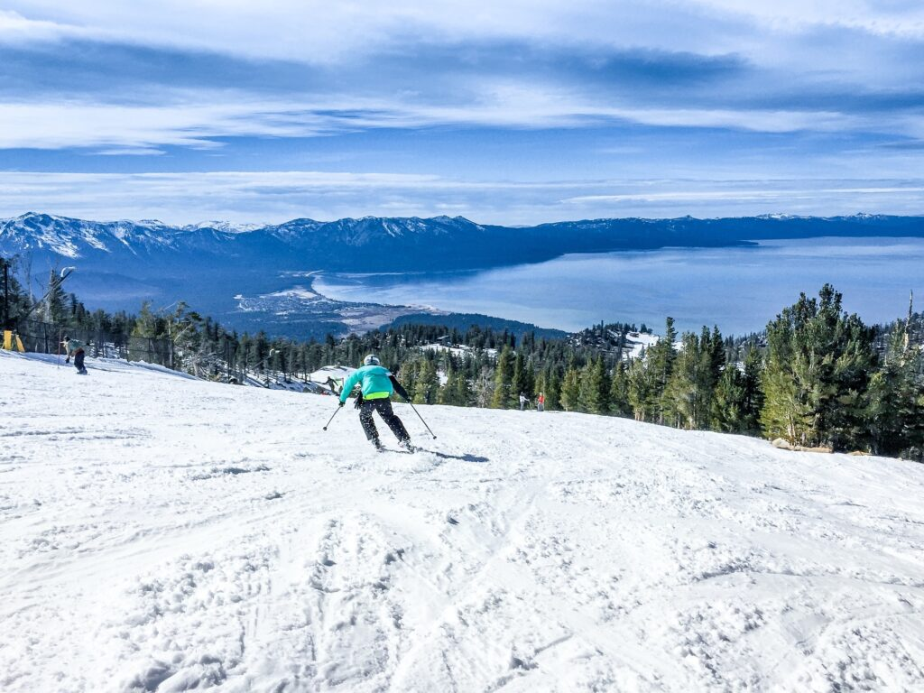 A skier on the slopes at Lake Tahoe.