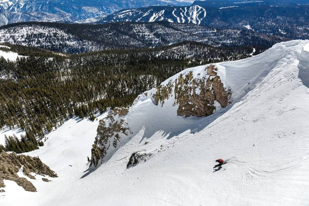A skier on the slopes at Purgatory Ski Resort.