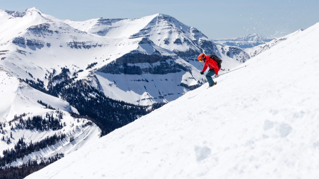 A skier on the slopes in Big Sky, Montana.