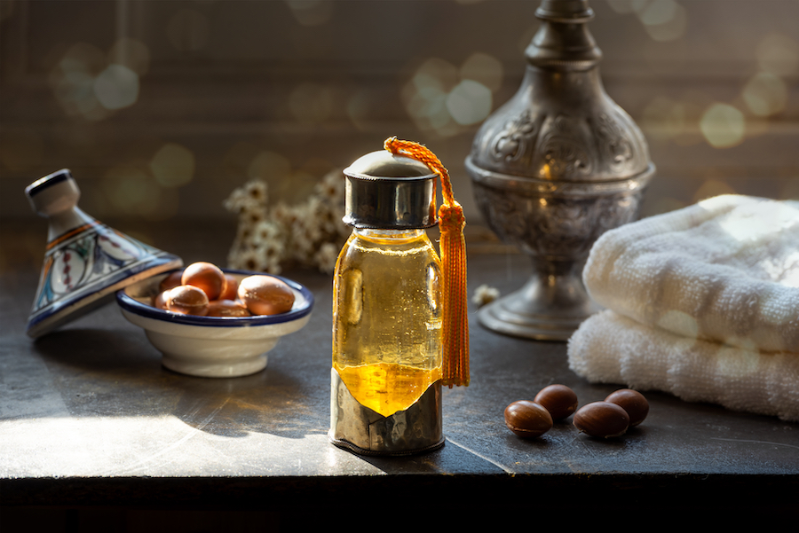 A small bottle of argan oil at a spa.