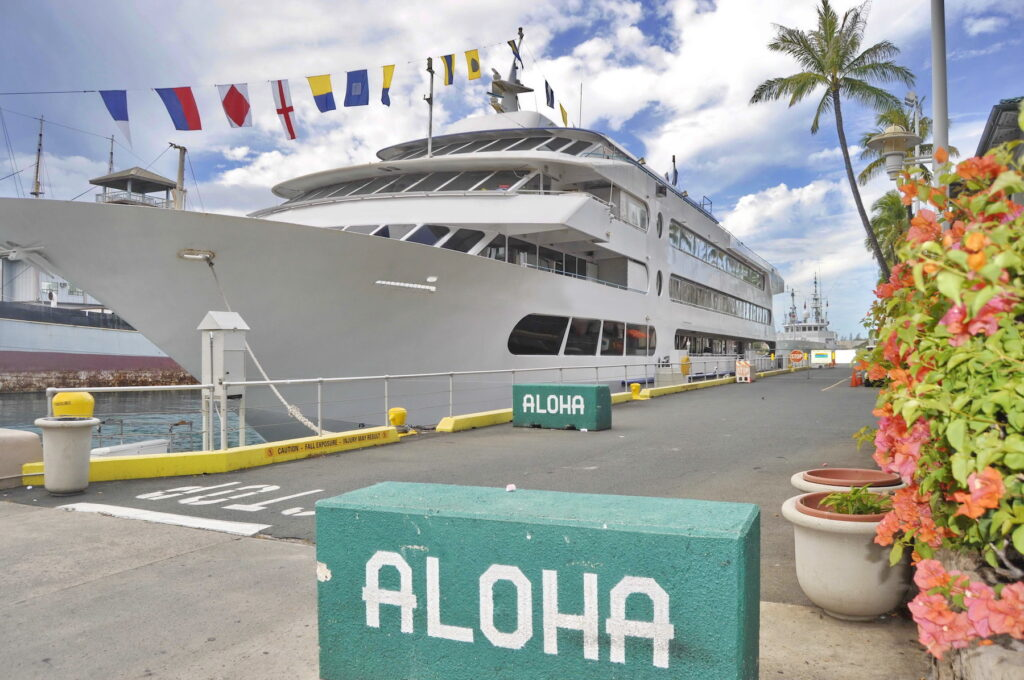 A small cruise ship docked in Hawaii.