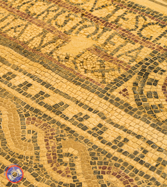A small section of mosaic recovered from the Roman section.