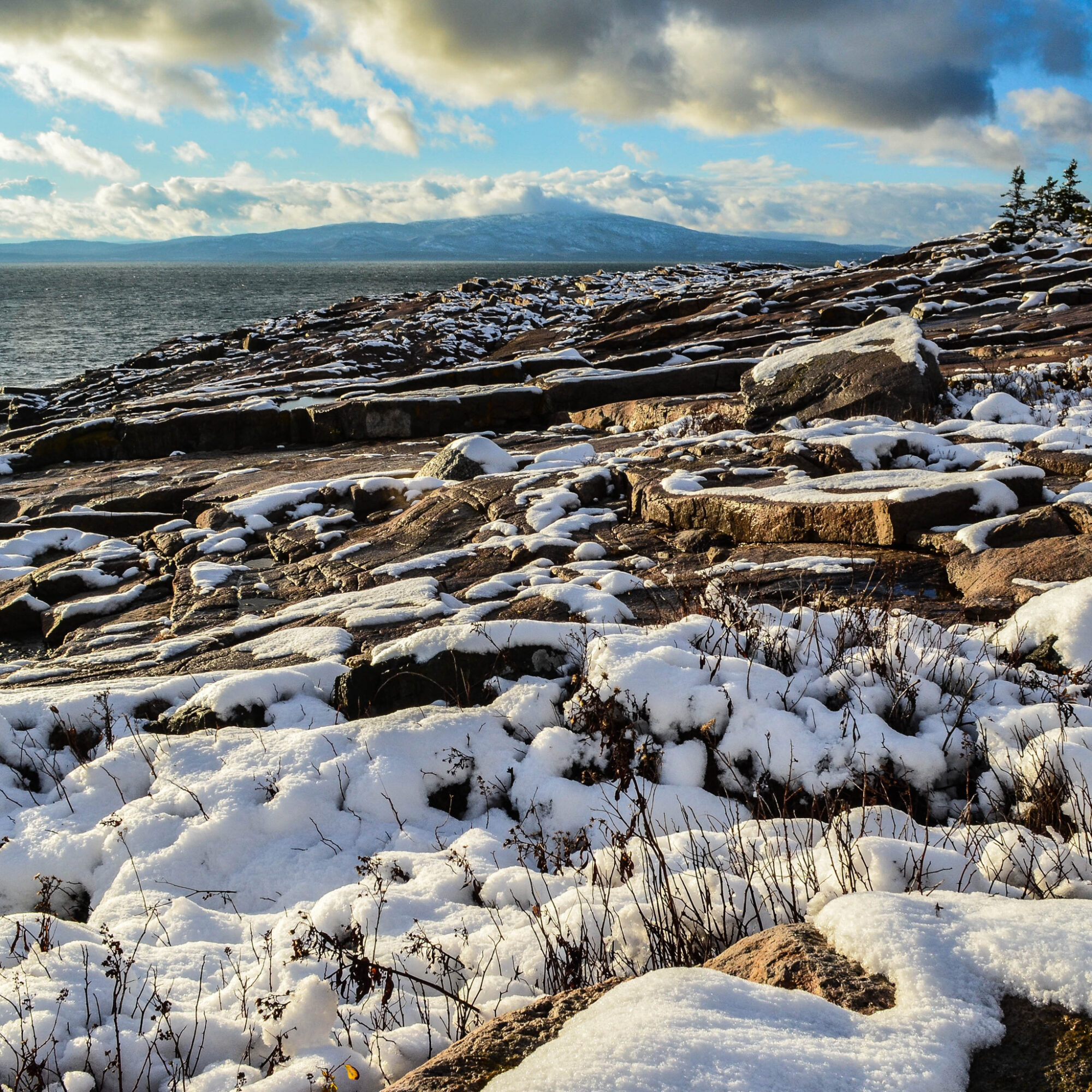 A snow day at Acadia National Park in Maine.