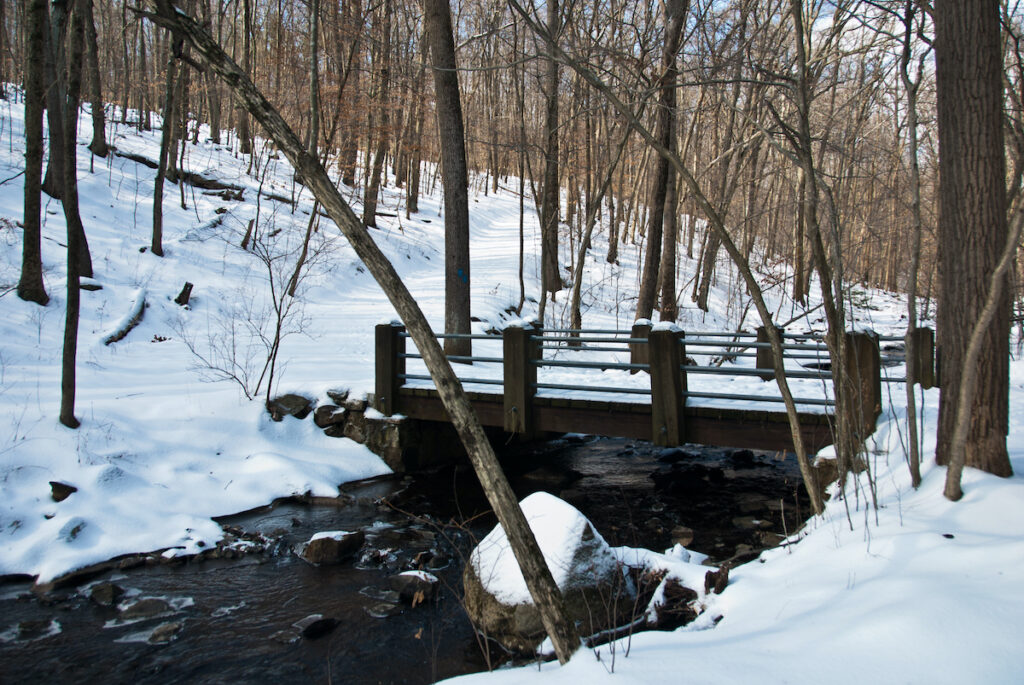 A snowy bridge in New Jersey's Hacklebarney State Park.