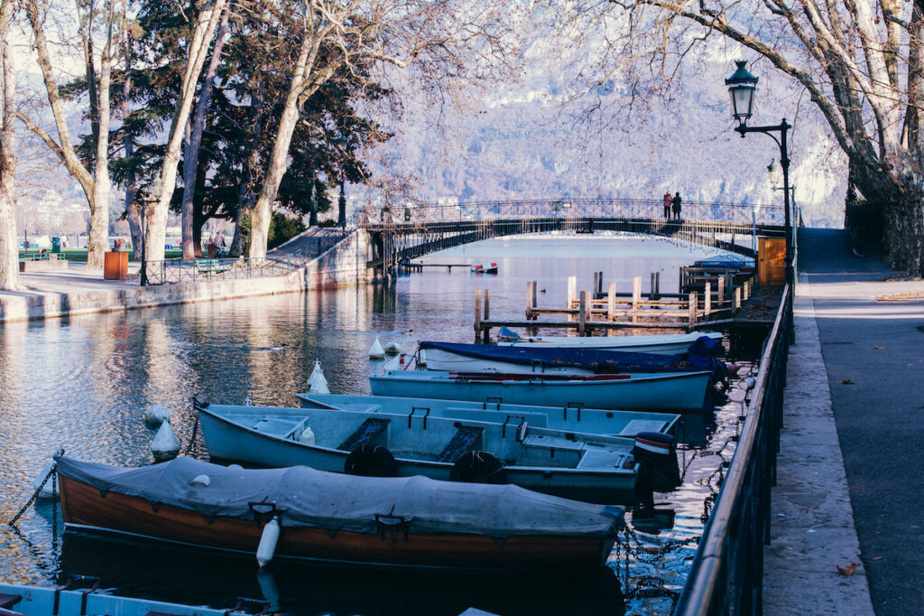 A snowy day in Annecy, France.