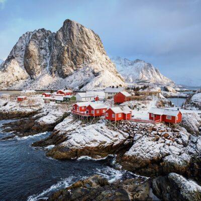 A snowy day in Norway's Lofoten Islands.