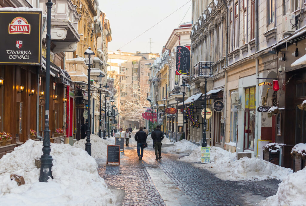 A snowy day in the Old City of Bucharest, Romania.