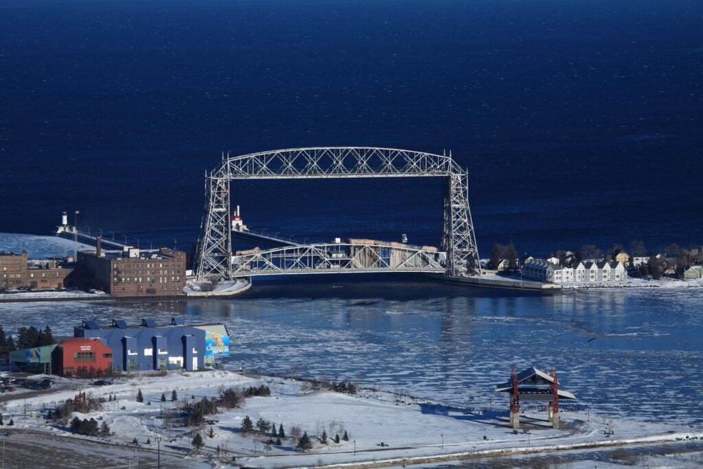 A snowy evening in Duluth, Minnesota.