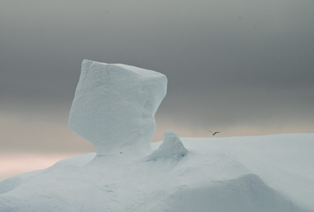 A snowy iceberg in the Arctic.