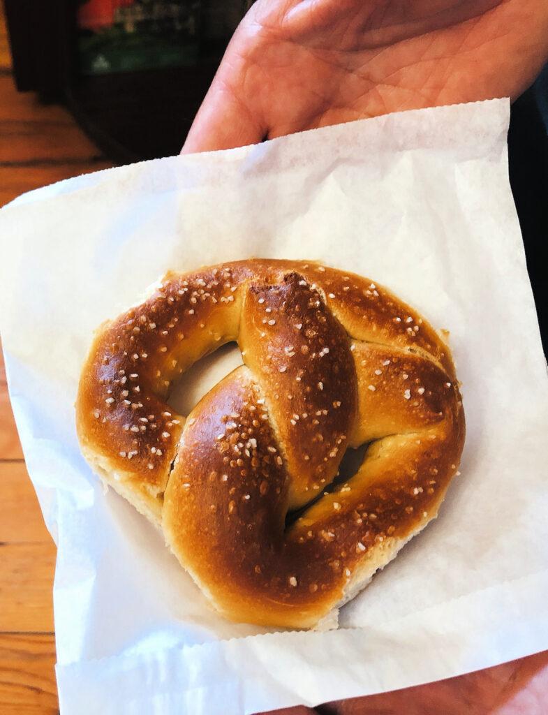 A soft pretzel from Julius Sturgis Pretzel Bakery.
