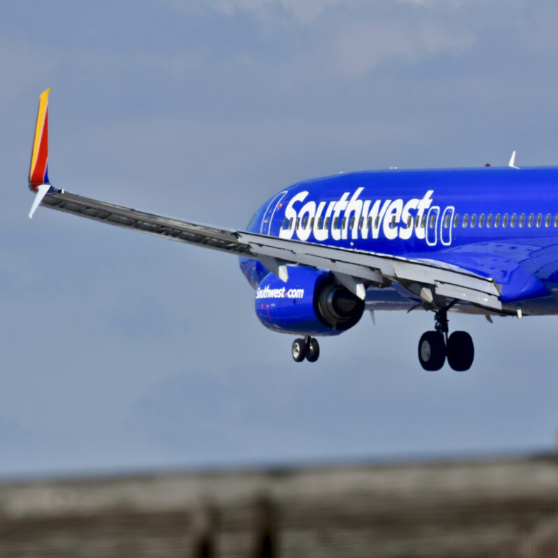 A Southwest Airlines plane landing.
