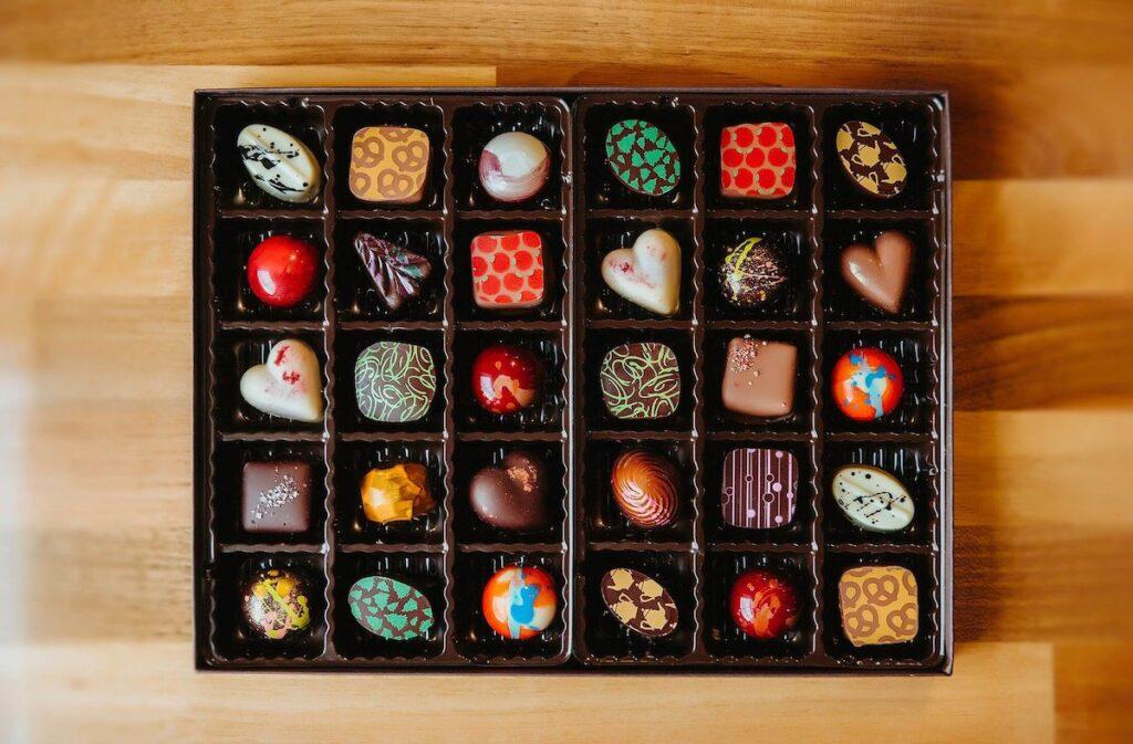 A square box of chocolates.