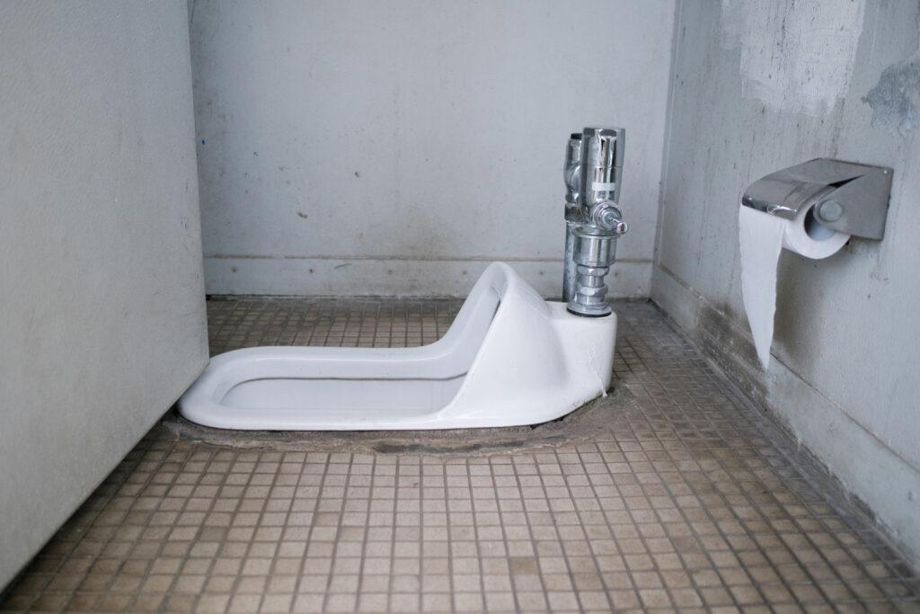 A squat pot toilet in Japan.