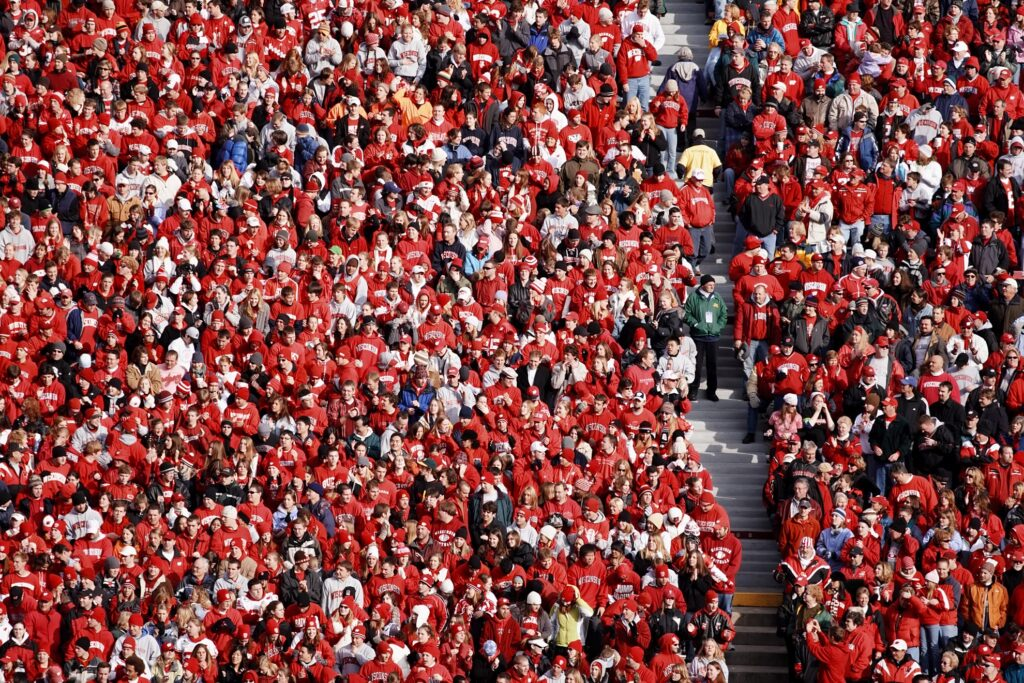 A stadium of Wisconsin Badgers fans.