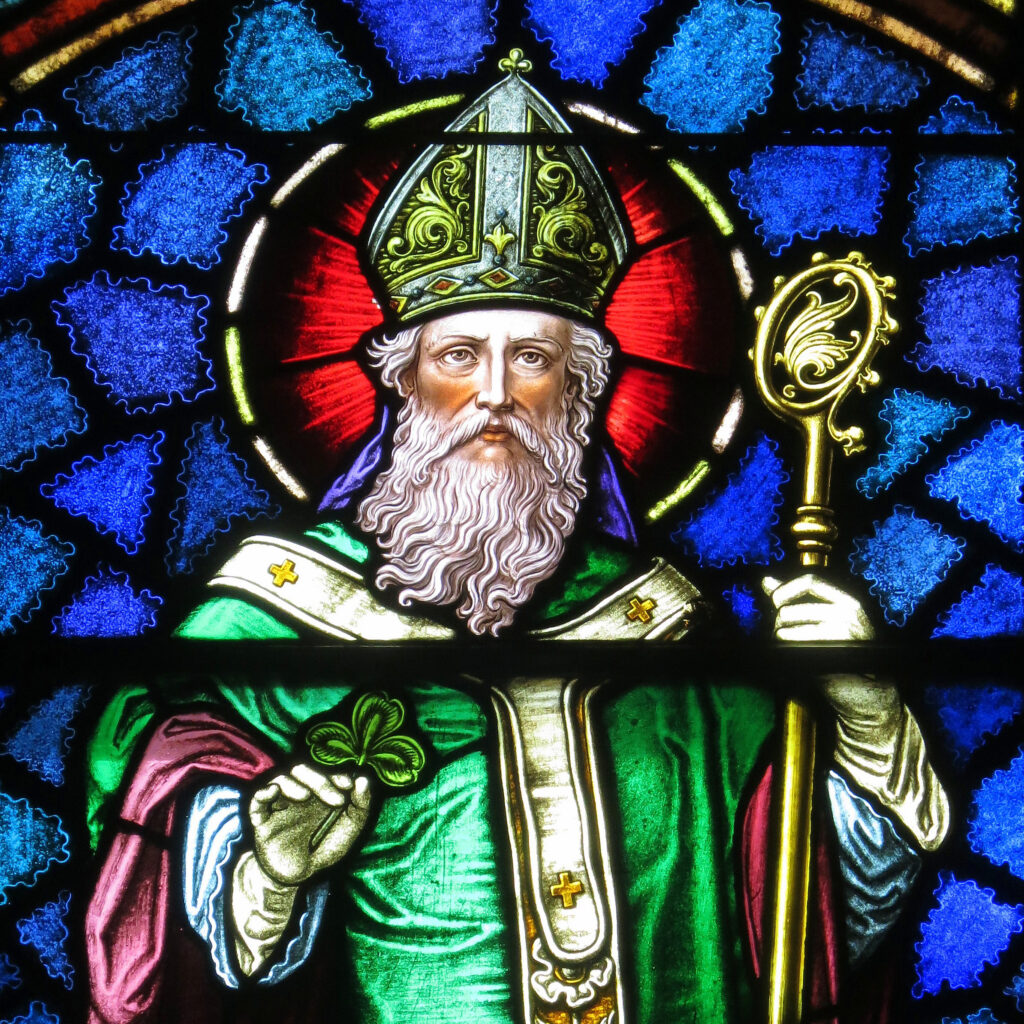 A stained glass impression of Saint Patrick.