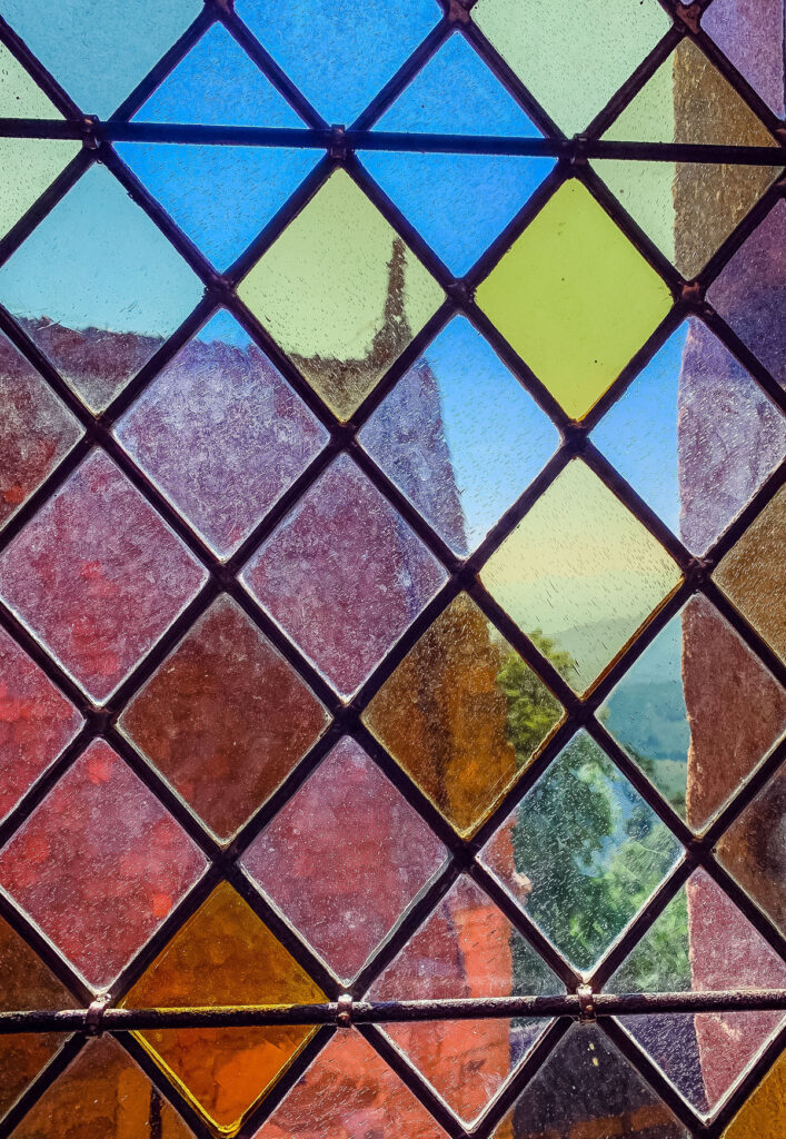 A stained glass window at Haut-Koenigsbourg Castle in France.