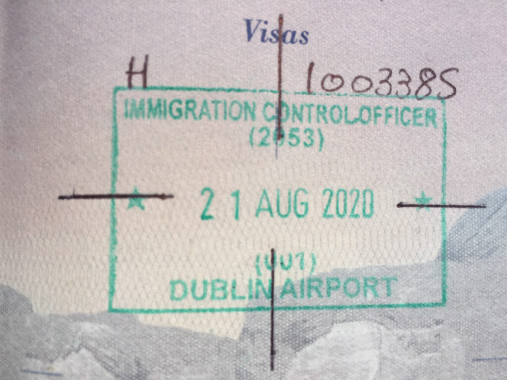 A stamp from the Dublin Airport.