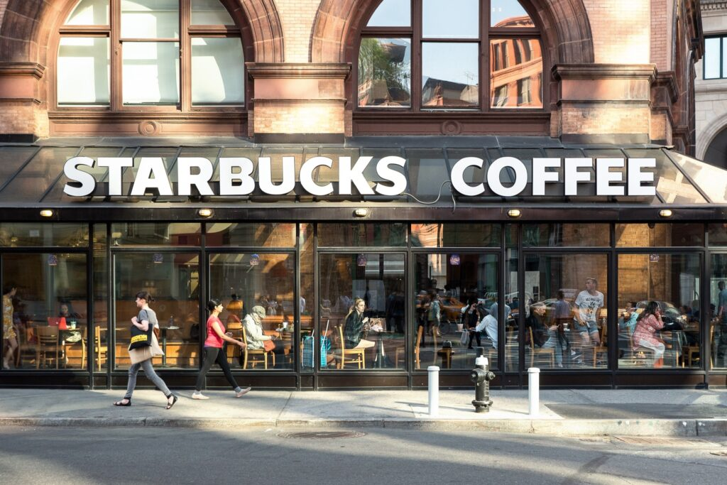 A Starbucks cafe in New York City.