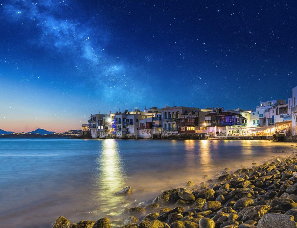 A starry night over Little Venice in Mykonos.