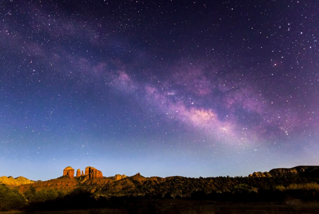A starry night sky over Sedona.