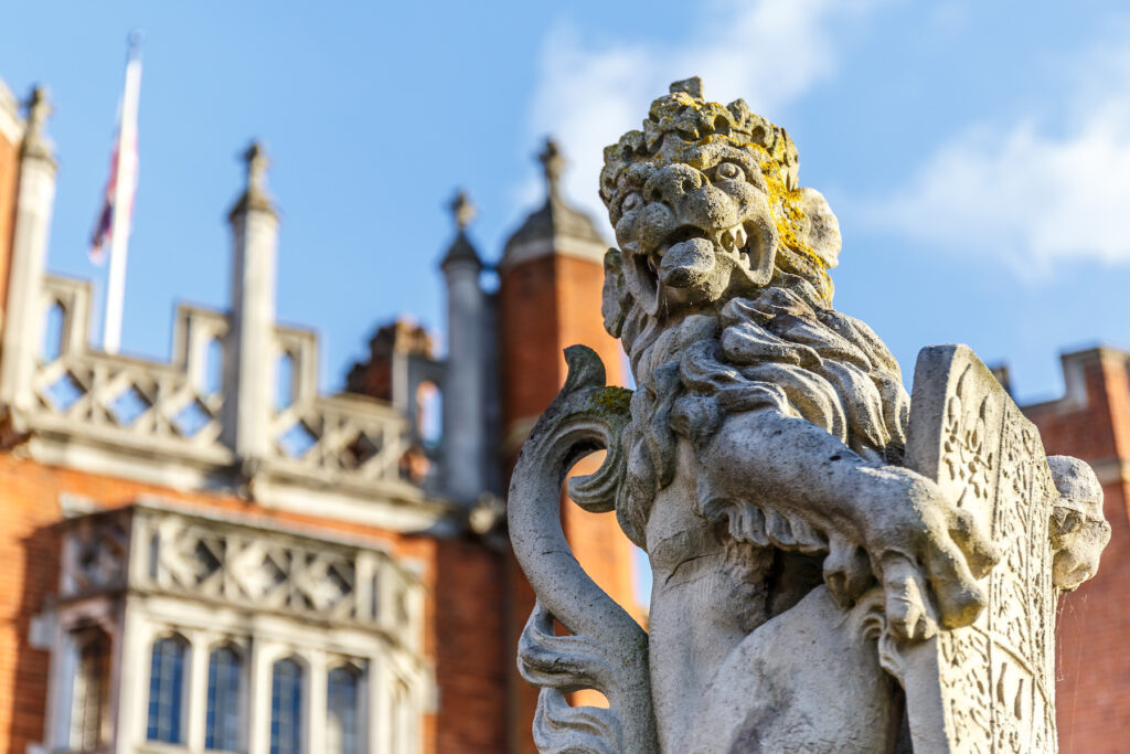 A statue at Hampton Court Palace in London.