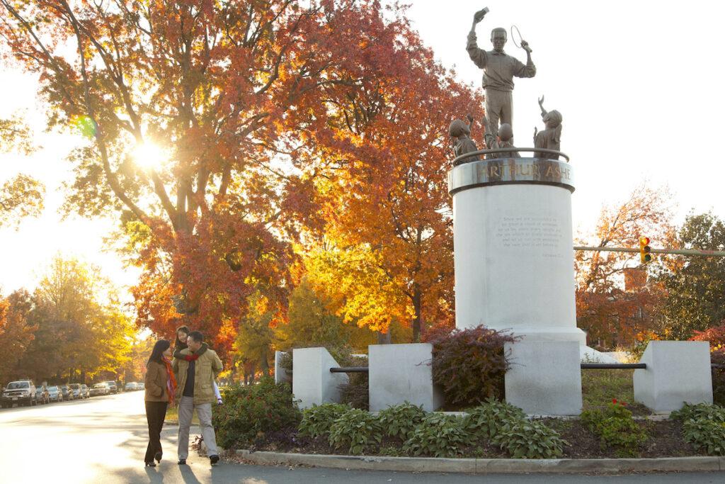 A statue of Arthur Ashe on Memorial Avenue.