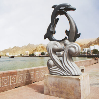A statue of dolphins in Muscat, Oman.
