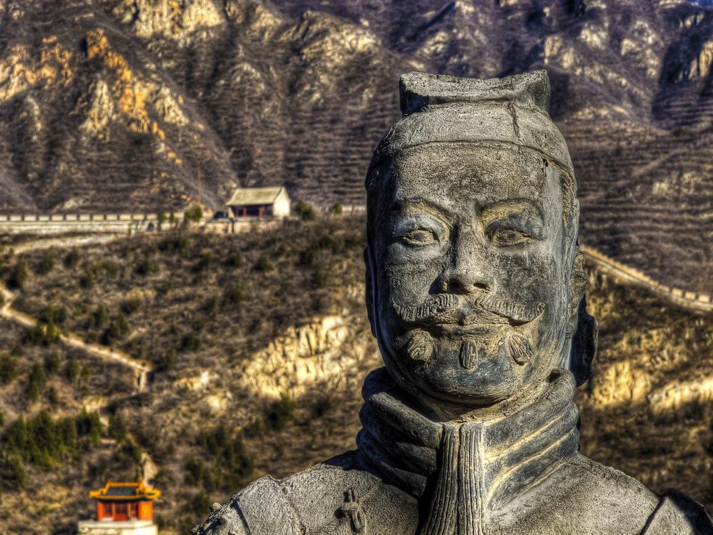 A statue of Emperor Qin Shi Huang at the Great Wall of China