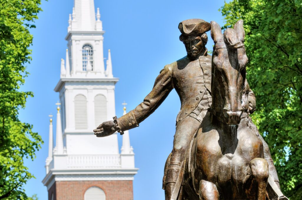 A statue of Paul Revere along the Freedom Trail in Boston