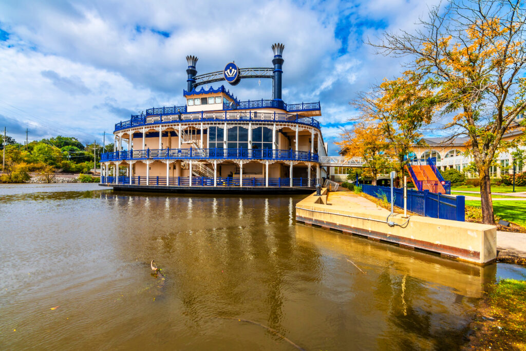 A steamboat on the Fox River in Elgin.