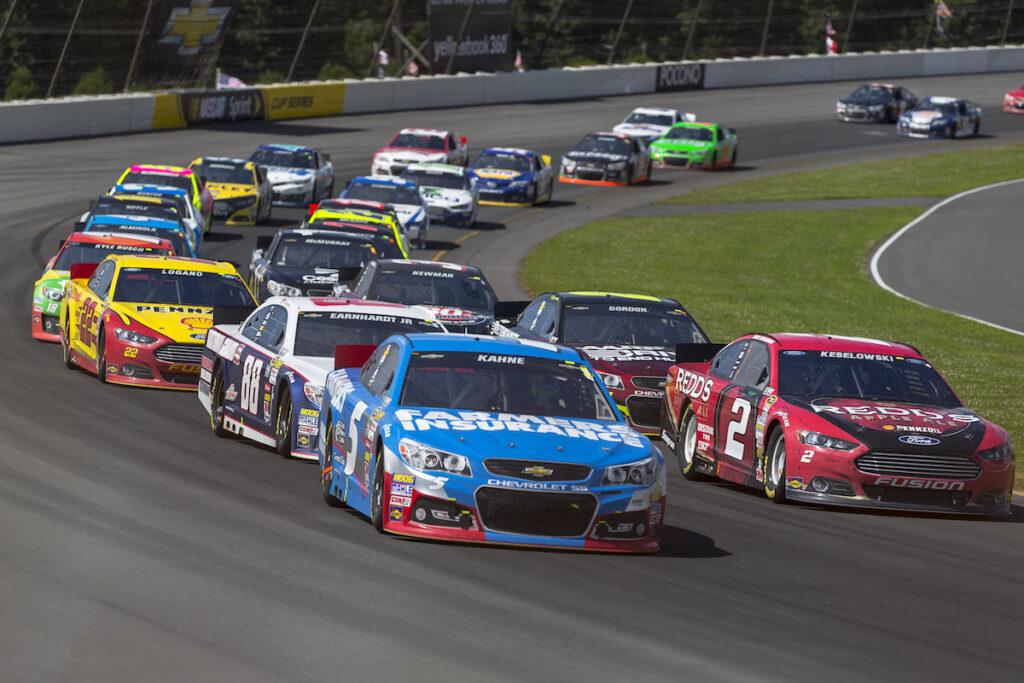 A stock car race at the Pocono Raceway.