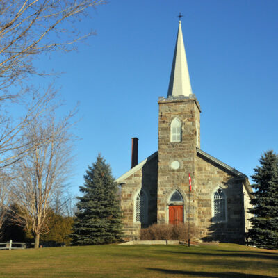 A stone church in Dunham, Quebec.