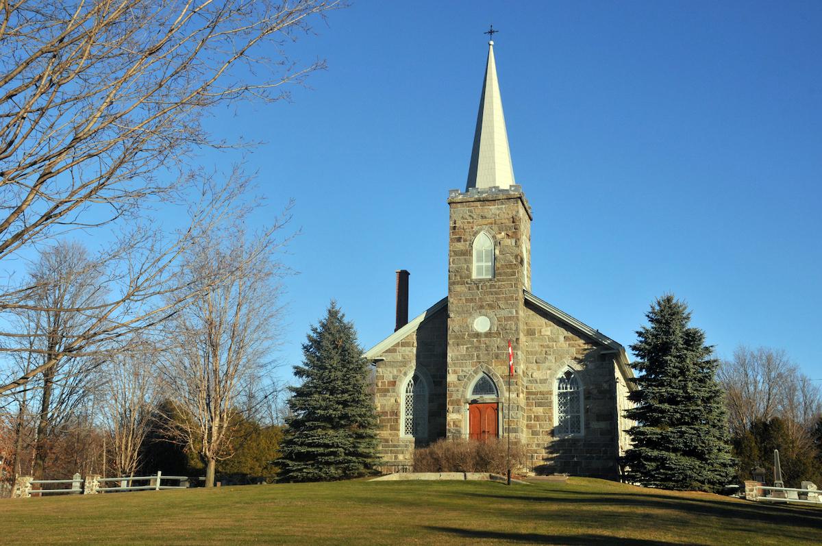 A stone church in Dunham, Quebec.