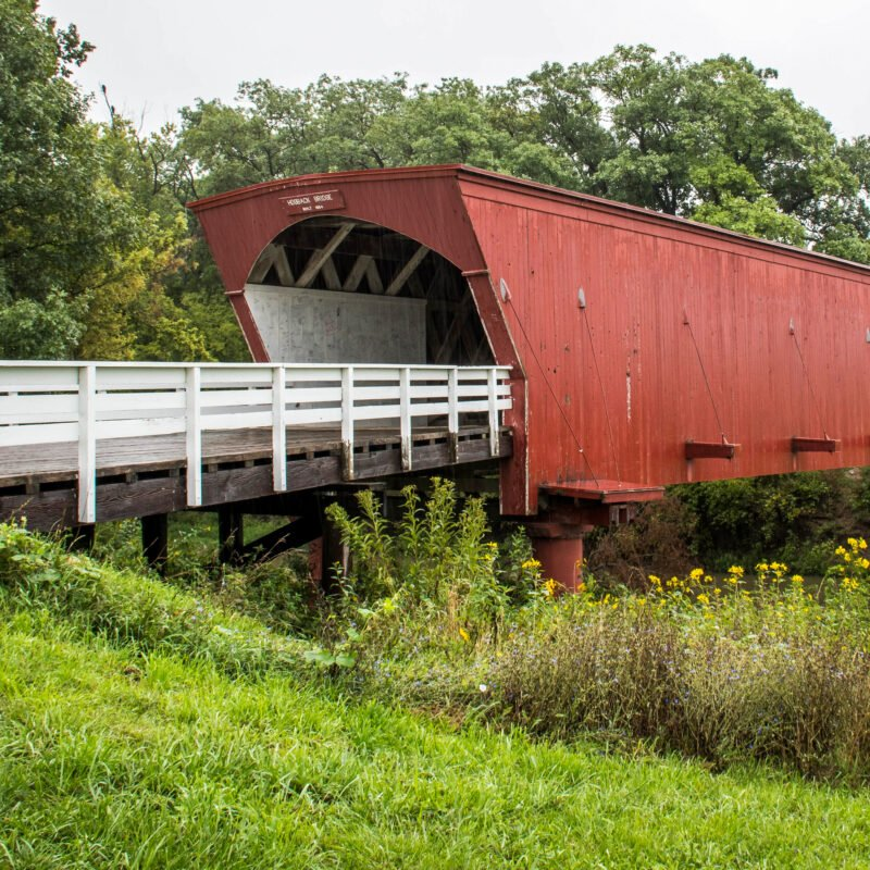 A stop on the Covered Bridges Scenic Byway in Iowa.