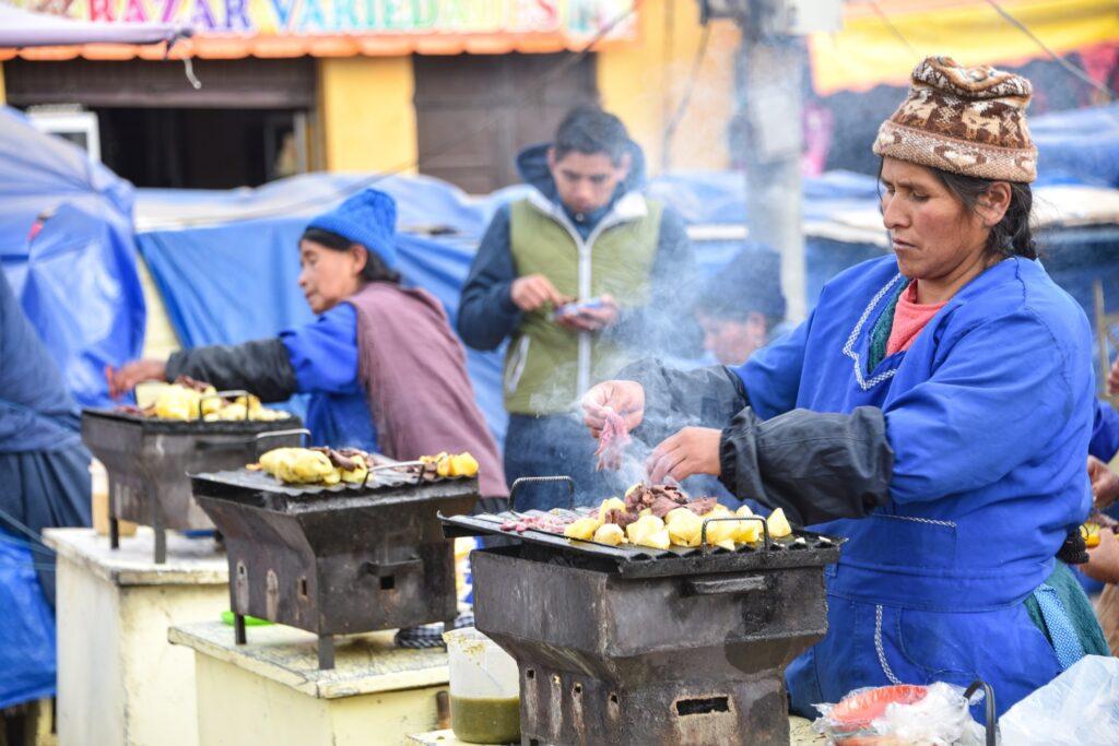 A street food vendor in Potosi, Bolivia.