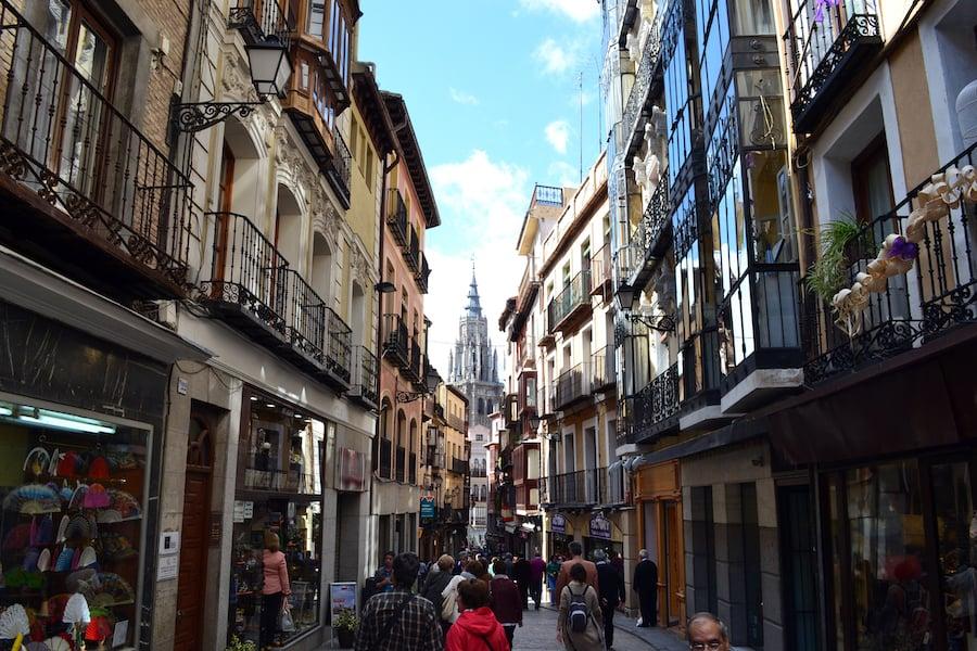 A street full of shops in Toledo, Spain.