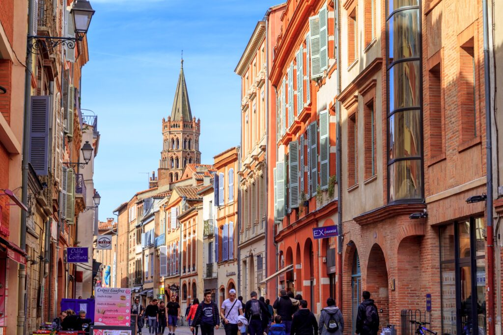 A street full of tourists in Toulouse, France.
