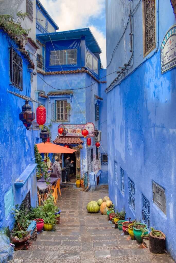 A street in Chefchaouen, Morocco.